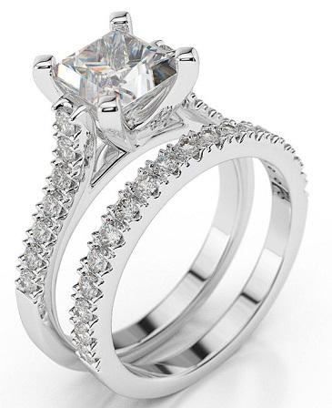Couples Princess Cut Diamond Rings