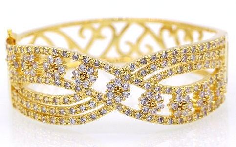 Cross Floral Gold Plated Bangle