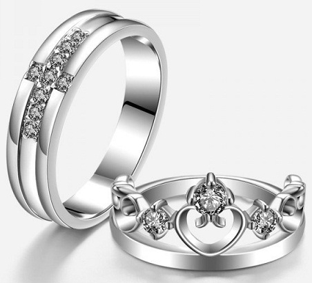 Cross and Crown Silver Rings