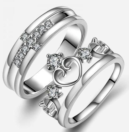 Cross and crown couple ring
