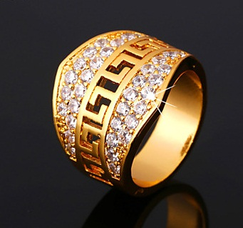Crown Shape Big Gold and Diamond Ring for Men