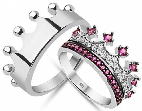 Crown Silver Couple Rings