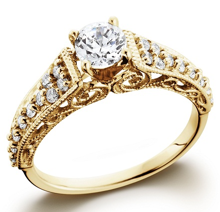 Crown cut gold vintage ring