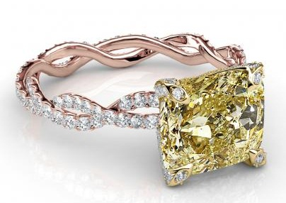 Curvy Yellow Diamond Ring Design