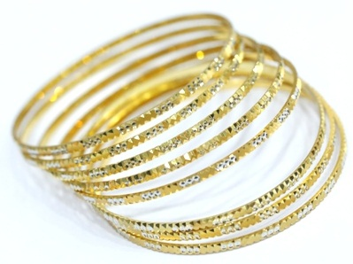 Cut Work Design on The Rolled Gold Bangles