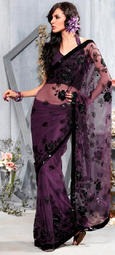 Dark Purple Net Saree Blouse
