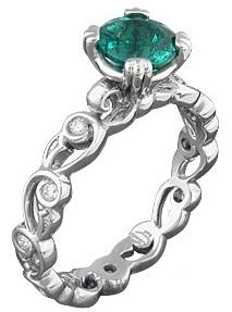 Delicate Leaf Emerald Engagement Ring