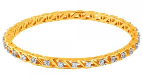 Designed Gold Bangle with Row Solitaire Diamonds