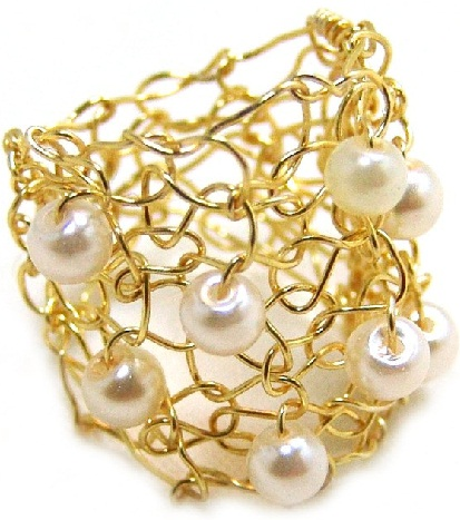 Designer Big Gold Ring with Ivory Pearl
