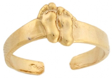 Designer Foot Print 14 K Gold Toe Ring