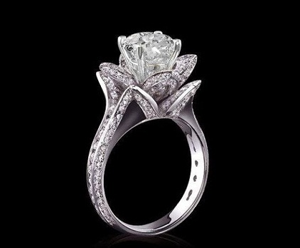 Designer Rose Flower Pave Diamond Wedding Ring