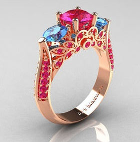 Designer Rose Gold Rings with Sapphire