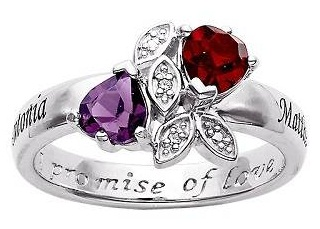 Diamond Heart Couple Promise Ring