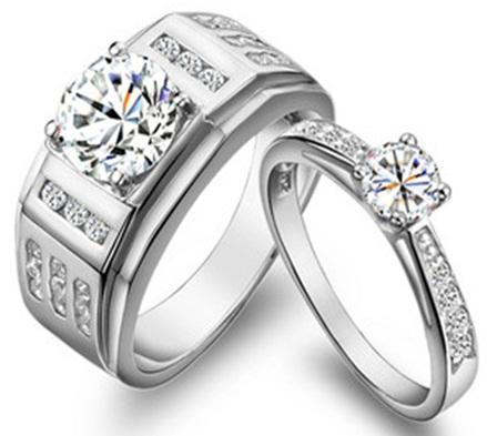 Diamond Mount Silver Couple Rings