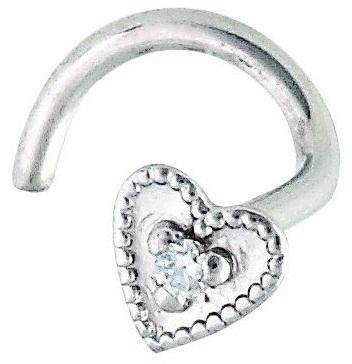 Diamond Nose Ring in Heart Shape