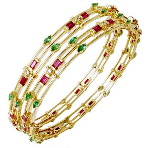Diamond-Ruby-Emerald Studded Gold Bangle Design