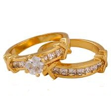 Diamond Stud Couples Gold Rings