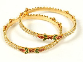 Diamond Stud Rolled Gold Bangles