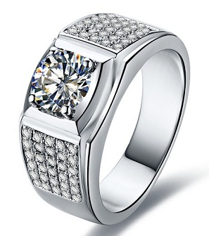 Diamond Studded Silver Wedding Ring For Men