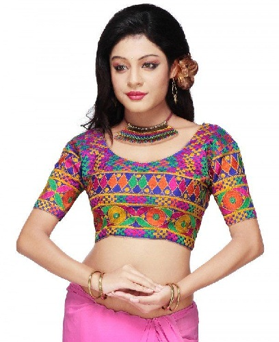 Embroidered Dupion Silk U Neck Blouse