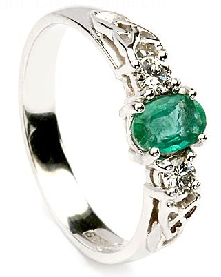 Emerald Celtic Engagement Ring