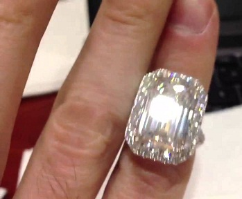 Emerald Cut Huge Diamond Ring
