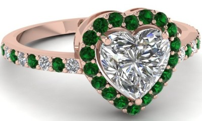 Emerald Engagement Ring with Heart Shape Diamond