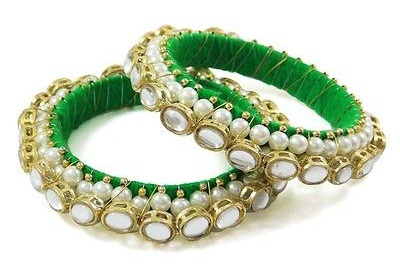 Ethinic Green Bangle with Pearl