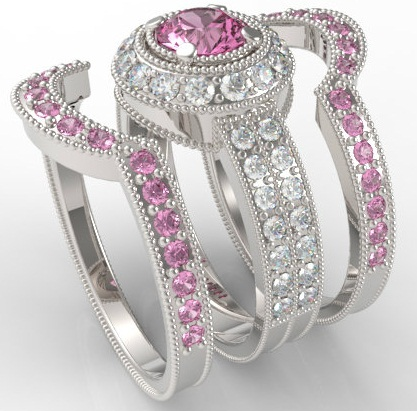 Filigree Pink Sapphire Wedding Ring Set