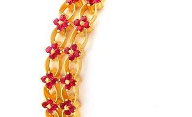 Floral Design-Ruby Studded Bangle Design