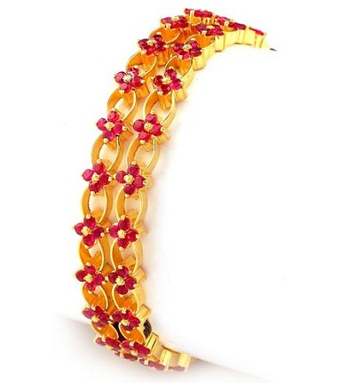 Floral Design-Ruby Studded Bangle Design