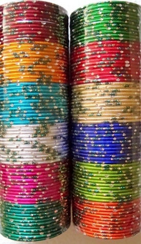 Glass Colourful Bangles with Sprinkles