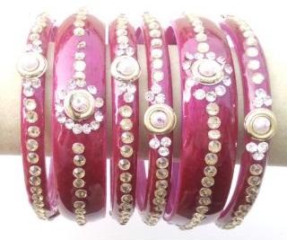 Glass Pink Bangle Set