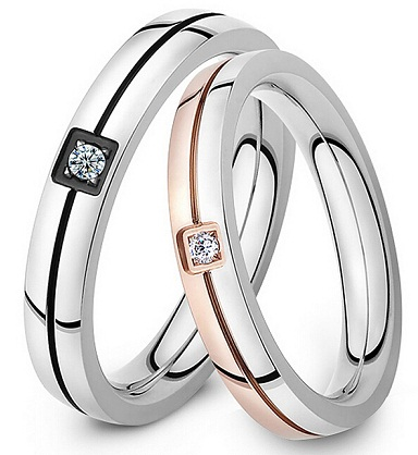 Glossy Couple Ring Set
