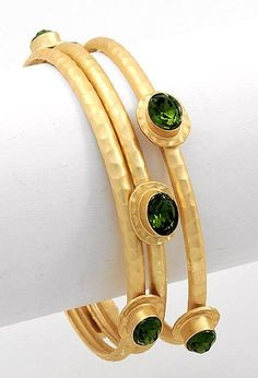 thread bangle bangles studded stone green silk