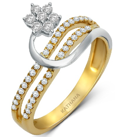 Gold Diamond Floral Rings for Women