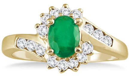 Gold Diamond Ring with Emeralds