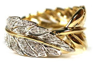 Gold Ring with Diamond Feathers