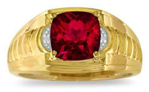 Gold Ring with Ruby for Men's