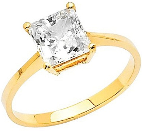Gold Solitaire Princess Cut Engagement Ring