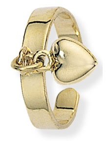 Gold Toe Ring With Dangling Heart