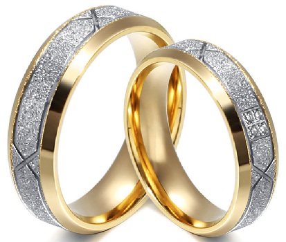 Gold plated couples engagement rings