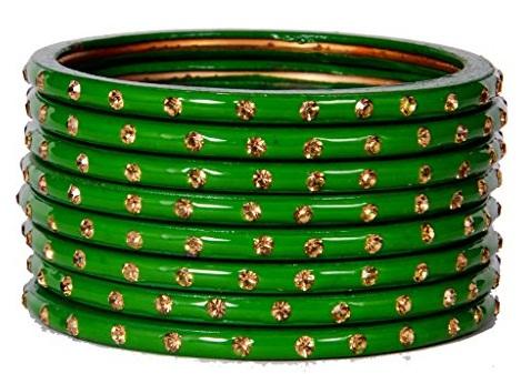 Golden Dots Green Bangles