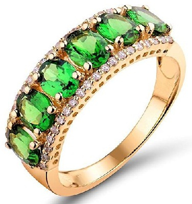 Green Stone Ring In Gold for Girls