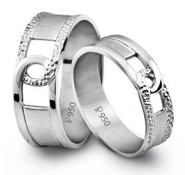 Grooved Platinum Couple Ring
