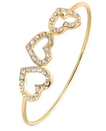 Heart Designed Gold Plated Bangle
