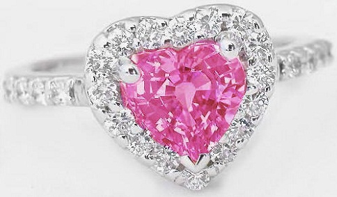 Heart Pink Sapphire and Diamond Ring