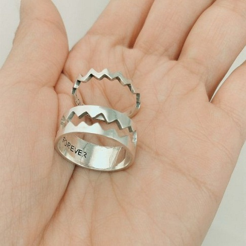 Heart beat couples match rings