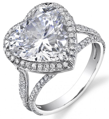 Heart shaped Diamond Ring with Pave Diamonds