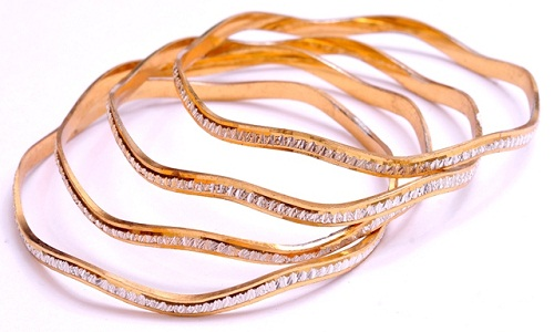 Irregular Shaped Round Rolled Gold Bangles